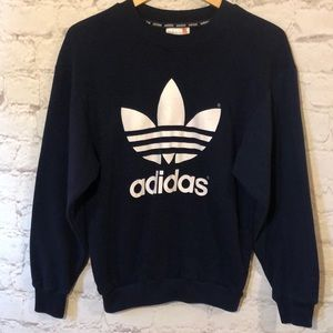 ADIDAS NAVY BLUE W/WHITE LOGO SWEATSHIRT